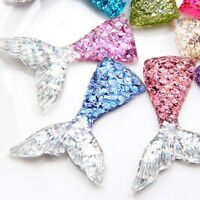 20 Flatback Resin Crystal Mermaid Fish Scale Tail Cabachons 32X21mm Color Choice