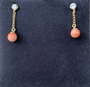 Beautiful 9 Carat Gold And Coral Drop Earrings !!