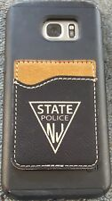 NJSP New Jersey State Police Leather Cell Phone Credit Card Holder 3M Adhesive