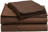 Branded 1 Flat Sheet & 2 Pillowcase Chocolate Solid 1000Thread Count 100% Cotton