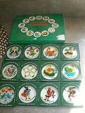 NEW Vintage 12 Days of Christmas Round Hand Painted Glass Ornaments Set