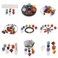 Chakra Platonic Solids Geometry Set Bracelet Colunm Pendulum Crystal Healing Kit