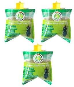 3x Fly Trap Bag Catcher Kills 20,000 Flies Insects Pest Control Killer