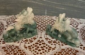 Green Jade Chinese hand-carved Small Dragon Figurines Set of 2