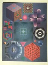 """Victor Vasarely HAND SIGNED Art Print, """"Plural"""" (Also Have One With Stamp)"""