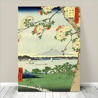 "Beautiful Japanese Art ~ CANVAS PRINT 36x24"" ~ Hiroshige Sumida River Blossums"
