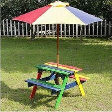 children garden bench wooden picnic table outdoor kids play patio furniture set