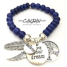 Live Your Dream Believe Angel Feather Wing Tree Of Life Charms Bracelet