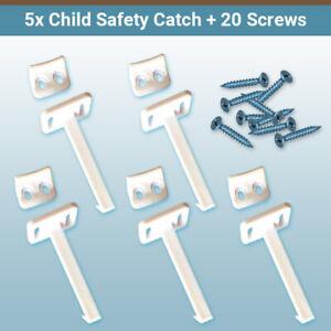 5x Child Safety Catch Child Proof Cupboard Door Drawer Lock Latch + Screws