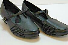 "Cushion Ease by Beacon Womens Sz 7.5M Shoes Black Leather SlipOn T-Strap 1.5"""