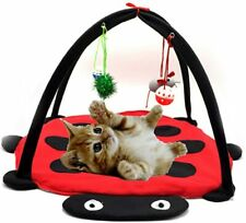 Cat Mobile Activity Play Mat Pet Padded Bed with Hanging Toys Bells Balls Mice