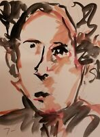 JOSE TRUJILLO ORIGINAL Watercolor Painting MODERN Fauvist 9X12 Portrait Abstract
