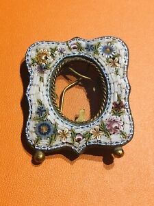 Vintage Micromosaic Flower Pattern Mini Photo Picture Frame