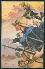 Militari Coloniali 107ª Legione Cairoli Fascismo RIFILATA cartolina XF6543