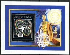 GUYANA 1993 LION'S Club ROTARY Club 75th Anniversary block 235 A silver perf