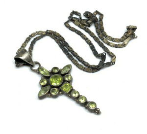 """Vintage Sterling Silver Peridot Cluster Religious Cross Pendant 16"""" Necklace"""
