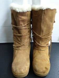 Womens Boots  Brown Leather Suede Upper Faux Fleece Lined Size 8