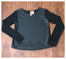 Mimi Chica Small Black Knit Top Faux Leather Wool Blend S