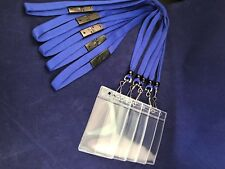 Blue Lanyards with Safety Release Clips & Soft Plastic ID Holder x 5