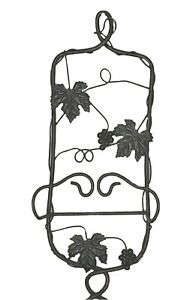 """1 Plate Rack Holder Black Gold Grapes Wine Leaves Metal Wall Hang 21""""Lx9""""Wx3.5"""