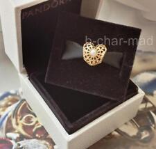 PANDORA | GENUINE 14ct Gold Vintage White Pearl Openwork Heart Charm: 750822P