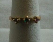 Three Stone Multi Color Stone Solitaire Ring Size 7