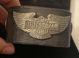 Harley Davidson black leather bracelet