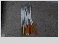 Vtg Stainless Steel  Fondue Forks 12 Color  MCM  Japan 70s Avocado Green Almond