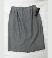 NWT Anne Klein Petite Womens Skirt Sz 6 Black White (Silver Look) A-line  B8