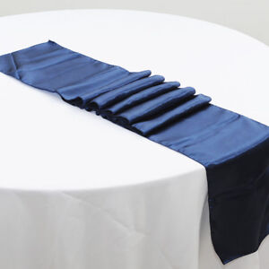 navy blue satin table runners anniversary wedding engagement party table decor