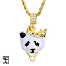 "Men's Iced Crown Panda 14K Gold Plated Pendant 24"" Rope Chain Necklace HC 1167 G"