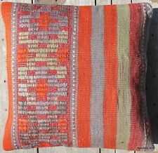 (45*45CM, 18 INCH) Boho handwoven kilim cushion cover pale blue green orange