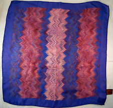 Vintage Scarf / Bandanna 100% Silk Mission Foulard Blues & Pinks Made in Italy