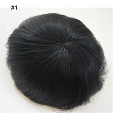 Black Mono Lace 100% Real Human Hair Replacement Men's Toupee Hairpieces System