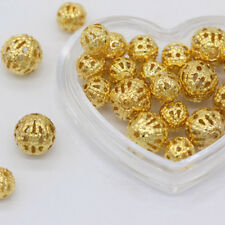 100pcs 6/8/10mm gold silver plated Metal Hollow lantern Round spacer loose beads