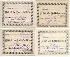 4 BILLETS DE SATISFACTION PARIS, COURS RUE DE FLORENCE 1915 A 1918