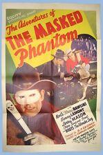 ADVENTURES OF THE MASKED PHANTOM - ORIGINAL ONE SHEET POSTER - 1939 - EQUITY PIX