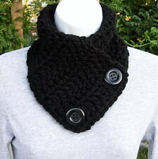 NECK WARMER SCARF Solid Black Soft Handmade Crochet Knit Buttoned Winter Cowl