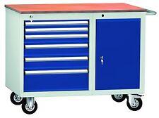 Werktisch Werkbank fahrbar 6 Schubladen 1 Tür LxTxH 1000x620x830mm RAL 7035/5010