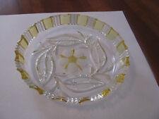 Decorative Clear Glass w/Yellow Glass Floral Pattern Serving Bowl