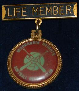 1995 ~ MOORABBIN HEIGHTS SOFTBALL NETBALL CLUB LAPEL PIN - LIFE MEMBER BAR