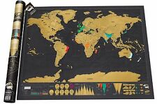 World Travel Map Scratch Off Deluxe Edition Personalized Journal Poster Log Gift
