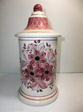 "Vintage Mexican Pottery APOTHECARY Jar 10.5"" PINK FLOWERS"