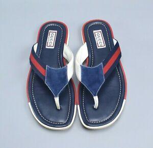 Gucci Mens Sandals Thong Blue Leather Shoes  US10.5 EU43.5 Web Blue Red