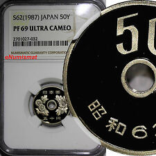 Japan PROOF S62 (1987) 50 Yen NGC PF69 ULTRA CAMEO KEY DATE SCARCE Y# 81