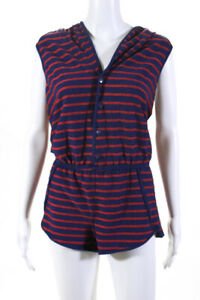 Marc By Marc Jacobs Womens Striped Button Up Sleeveless Hooded Romper Size M