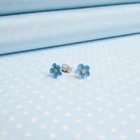 Forget me not  Stud Earrings FLOWER JEWELLERY  Made in Wales UK Hand Painted