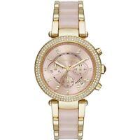 Michael Kors MK6326 Parker Gold-Tone Pink Acetate Ladies Chronograph Watch