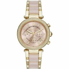 Michael Kors MK6326 Parker Gold-Tone Pink Acetate Ladies Chronograph Watch