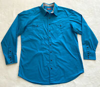 Red Ranch Mens XXL Tall ? Western Shirt Blue w Flip Cuff Pearl Snap Embroidered
